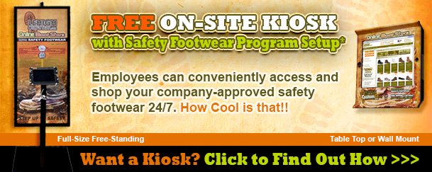 Free safety shoe program with on-site kiosk makes buying employee footwear convenient and fast
